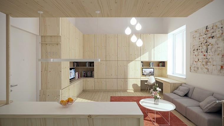 apartamentos pequenos mesa cafe blanca sofa gris ideas