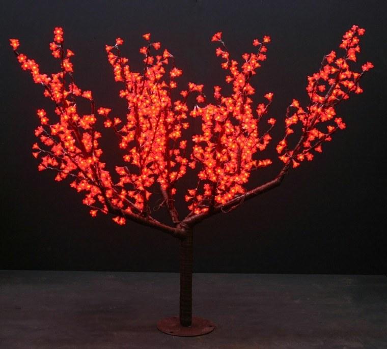 arbol cerezo rojo lampara jardin