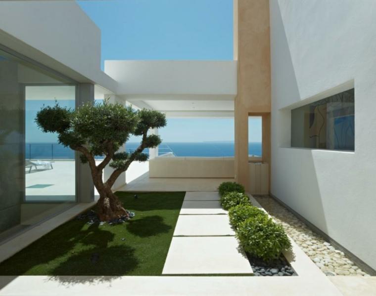 arbol rocas luz mar exterior diseño moderno