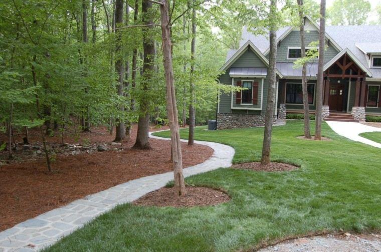 arboles cesped jardin casa piedras ideas