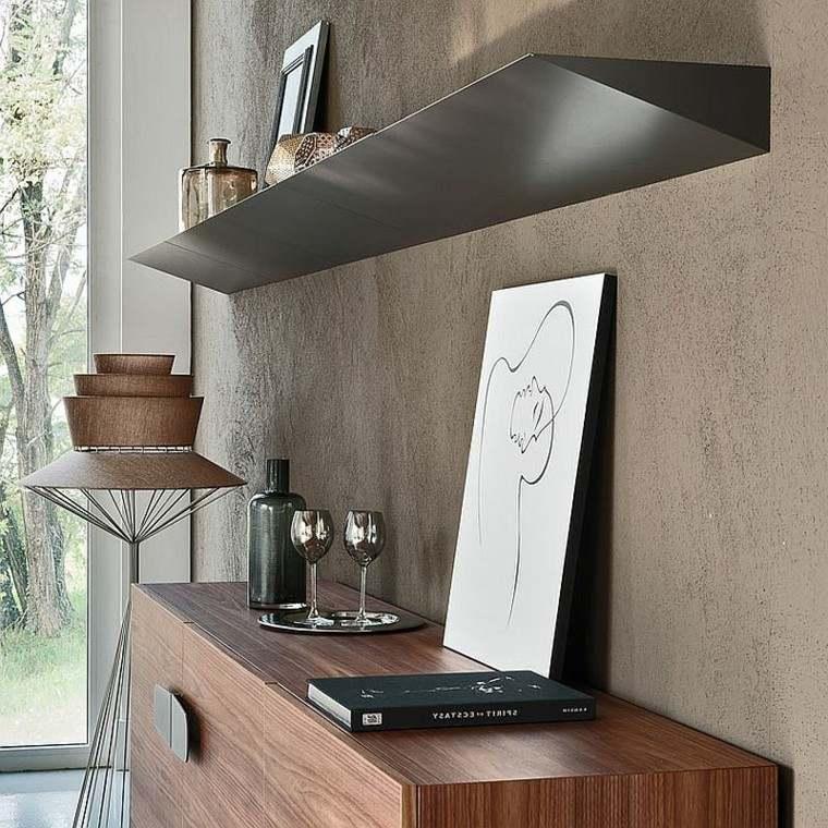 armario madera estanterias salon diseno modernas