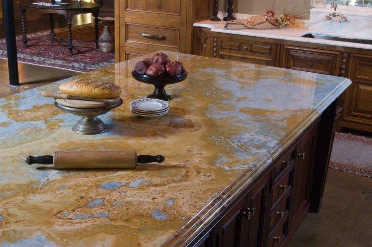 armaros madera cocina isla encimera marmol ideas - Encimera Marmol