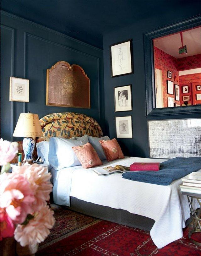 dormitorio azul añil estilo boho