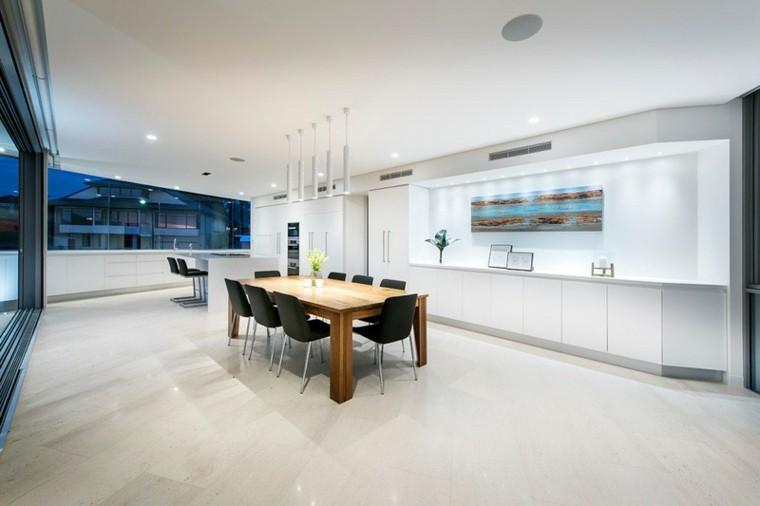 azul led casa cocina moderno espacio