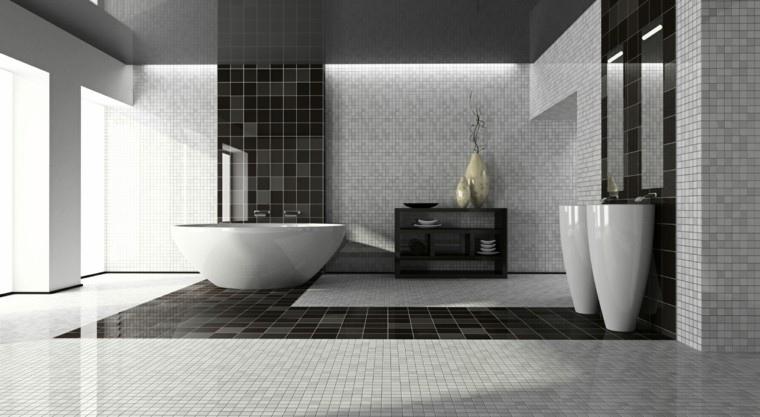 azulejos baño dos colores negro
