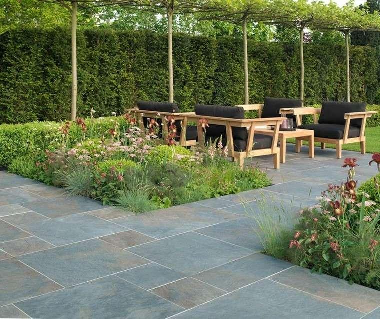 azulejos baldosas jardin espacio relax muebles ideas