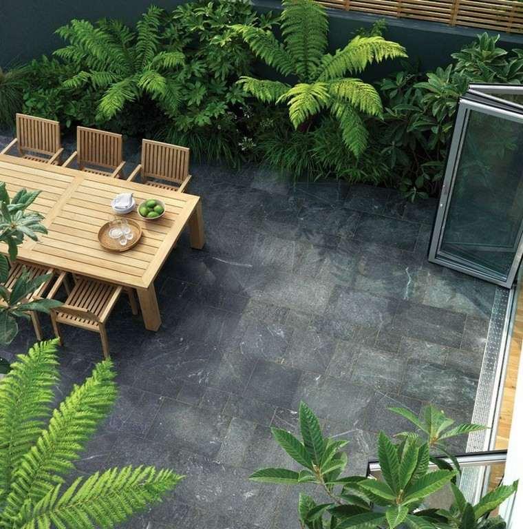 azulejos baldosas jardin ideas suelo mesa sillas teca ideas