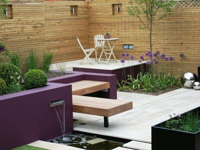 azulejos baldosas jardin niveles muralla purpura ideas