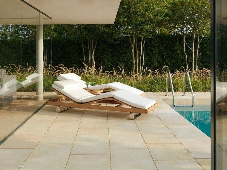 azulejos baldosas jardin tumbonas piscina ideas