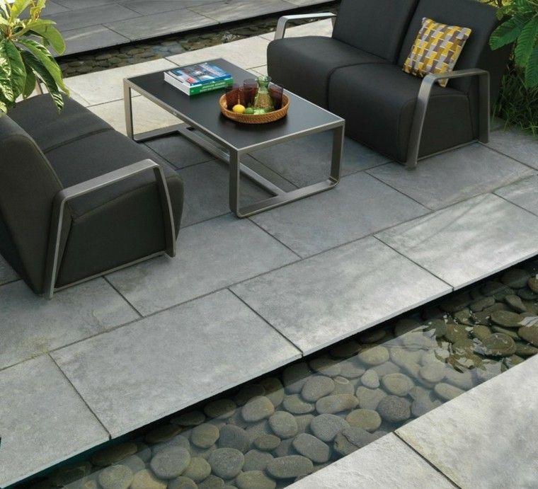 azulejos baldosas sofas negros modernos agua baldos ideas