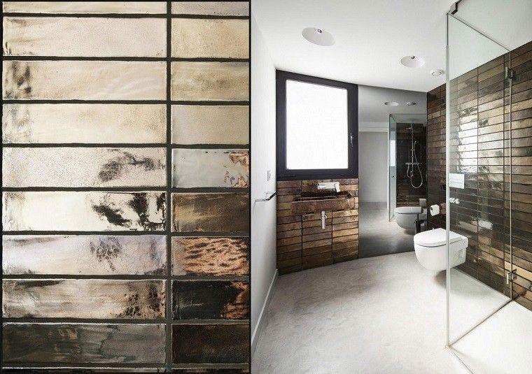 azulejos brillantes rectangulos cuarto baño