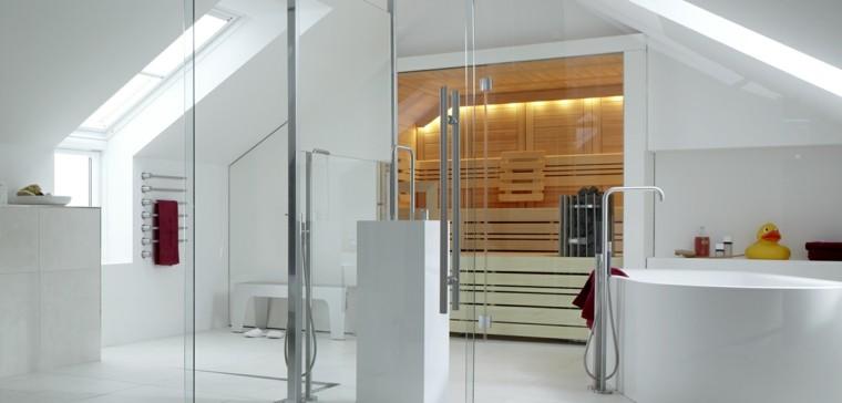 baño blanco sauna madera