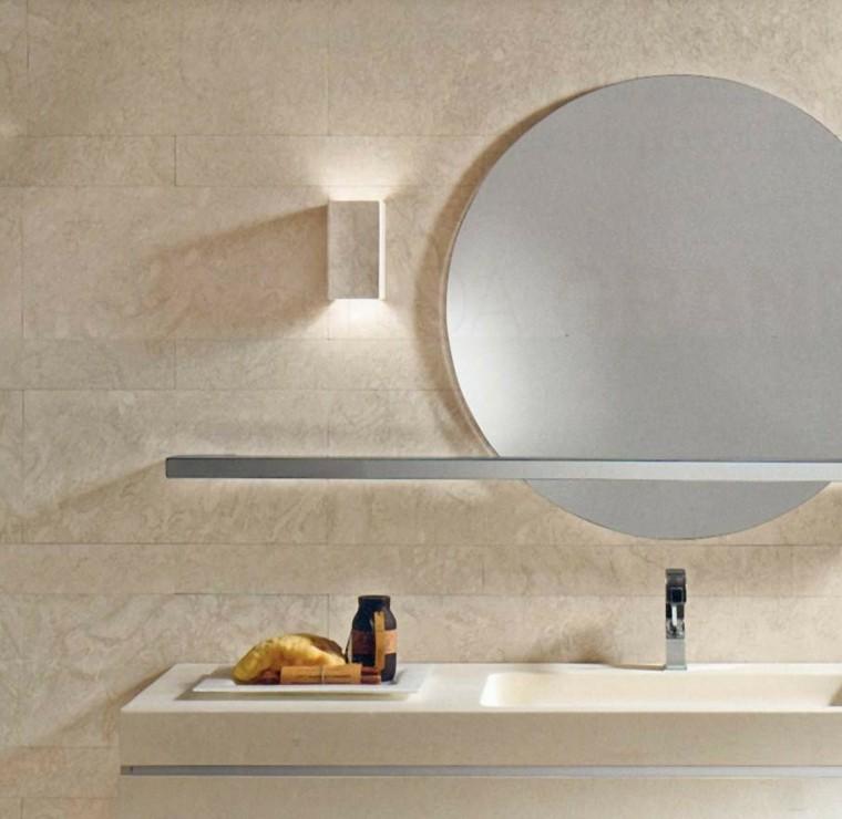 baño luces roca lavabo espejo