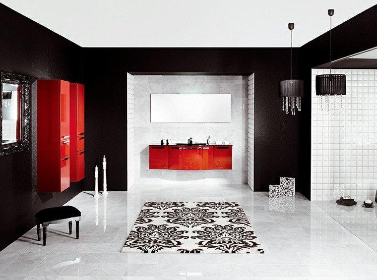 baño lujoso negro rojo lacado