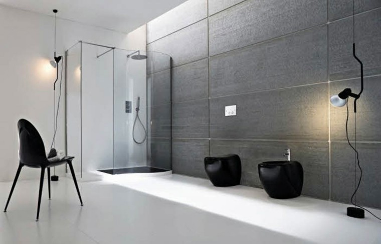 baño estilo minimalista muebles negros