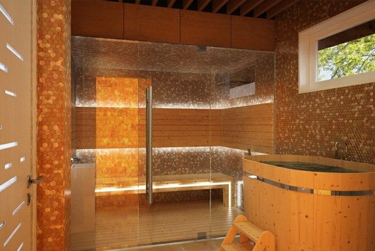 baño estilo moderno bañera madera