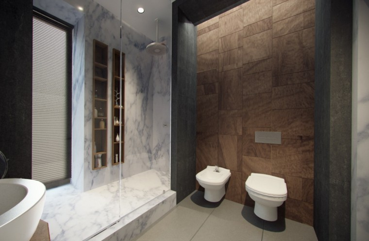 baño moderno plato ducha marmol