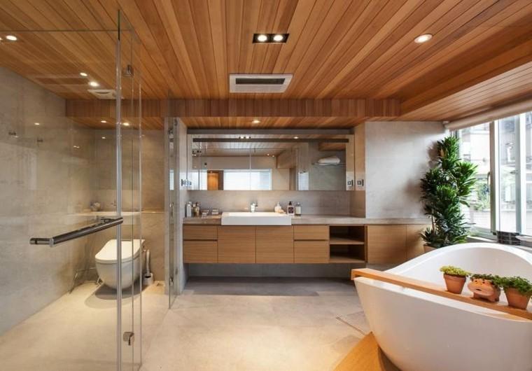 baño moderno techo laminado madera