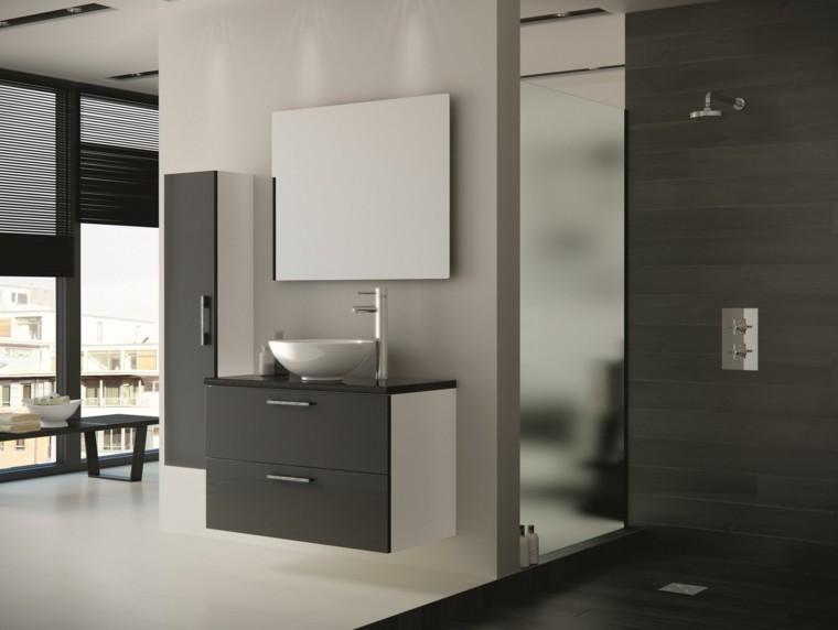 estilo moderno con muebles de color gris  Muebles De Baño Japonesas