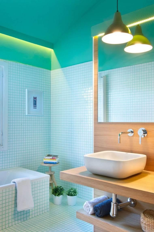 baño mosaico celeste paredes revestimiento
