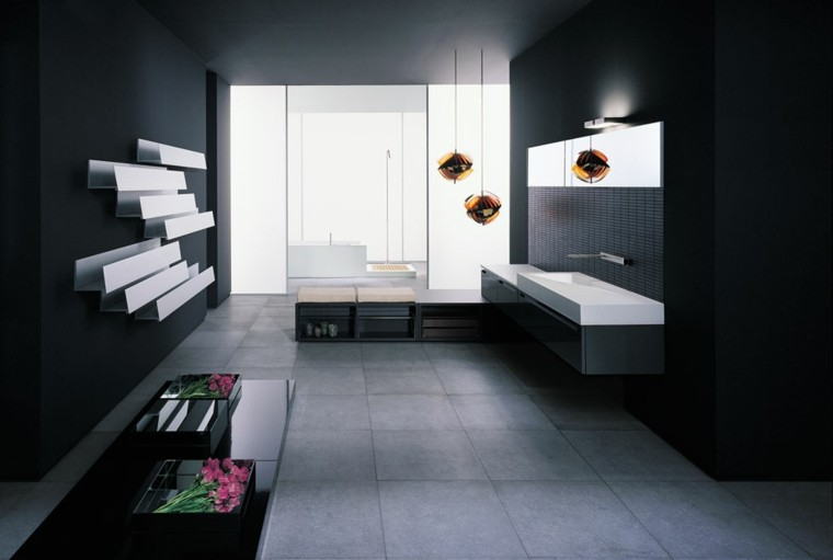 baño color negro diseño moderno