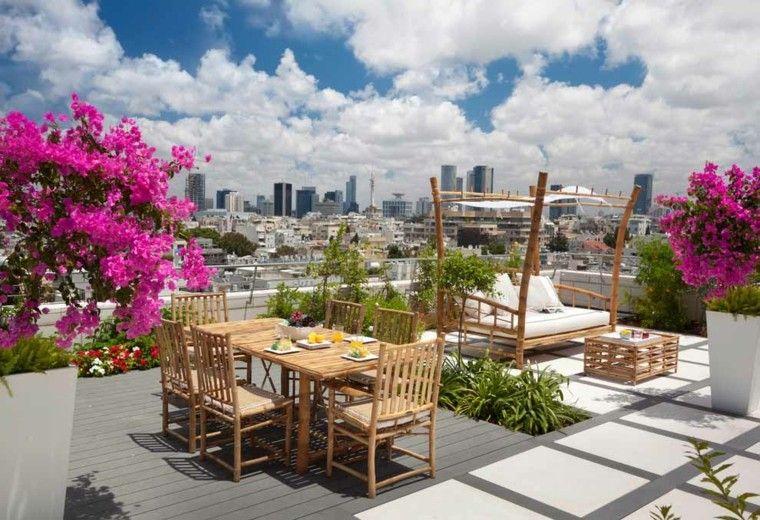 bambu mobiliario rosado jardin plantas