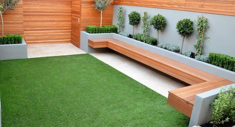 banca diseño jardin moderno muro minimalista