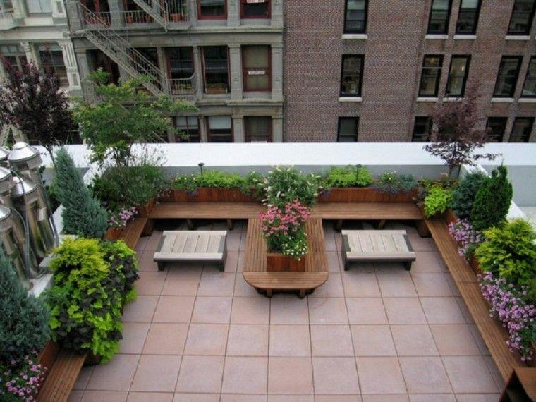 bancas madera cuadro tejado diseño