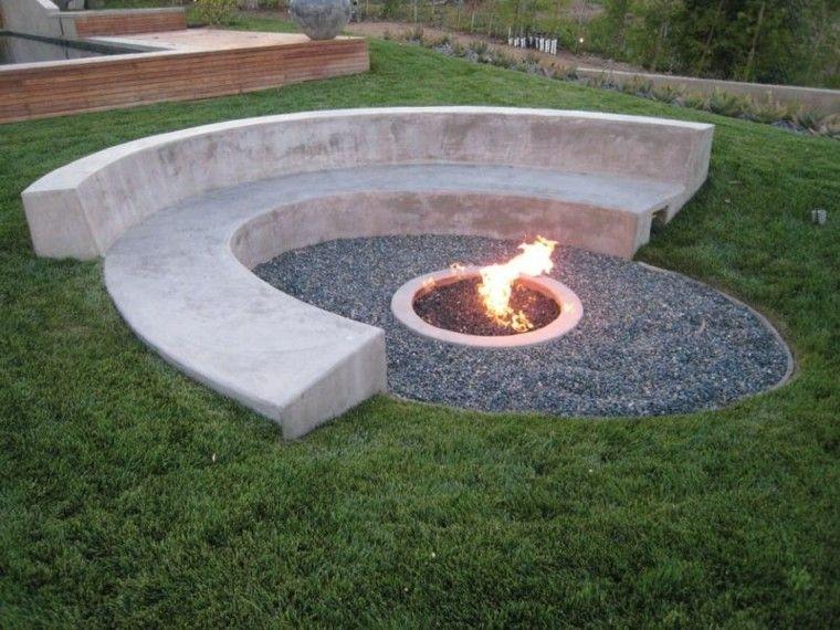 banco jardin guijarros hormigon lugar fuego ideas