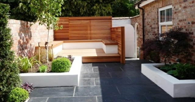 banco jardin madera teca pared