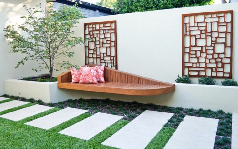 banco integrado madera estilo moderno