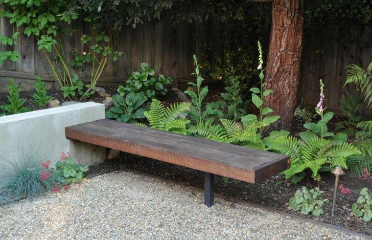 banco madera maciza listones jardin