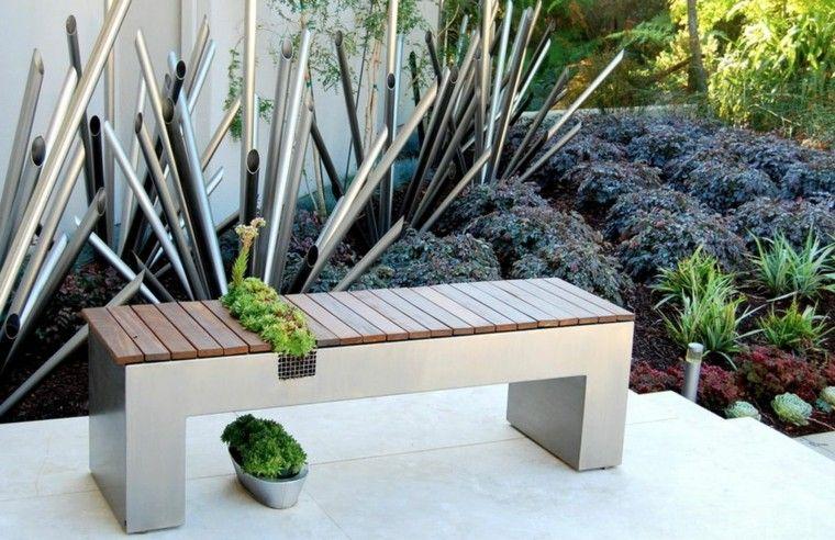 banco estilo moderno musgo jardin