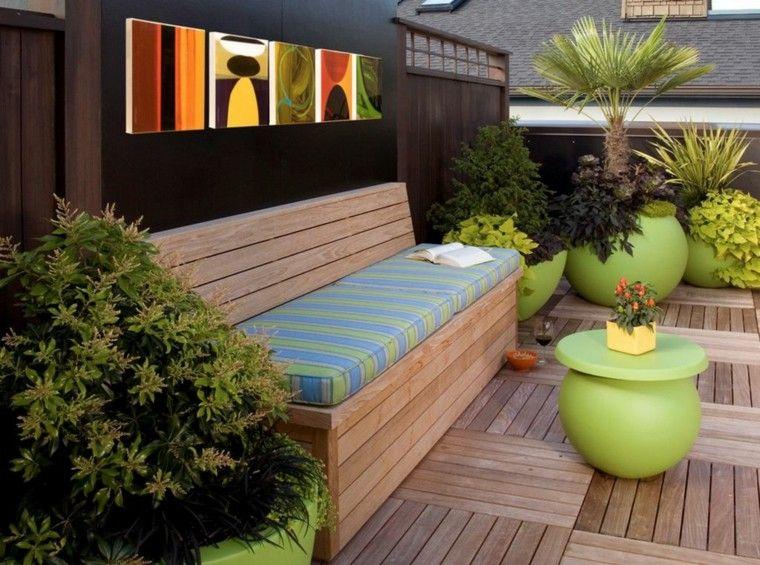 banco suelo jardín plataforma madera