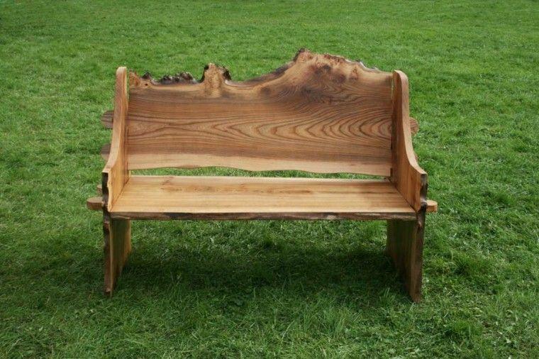 banco tallado madera tronco desigual