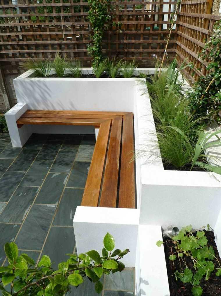 Bancos y gradas para el jard n veinticinco ideas - Loseta para jardin ...