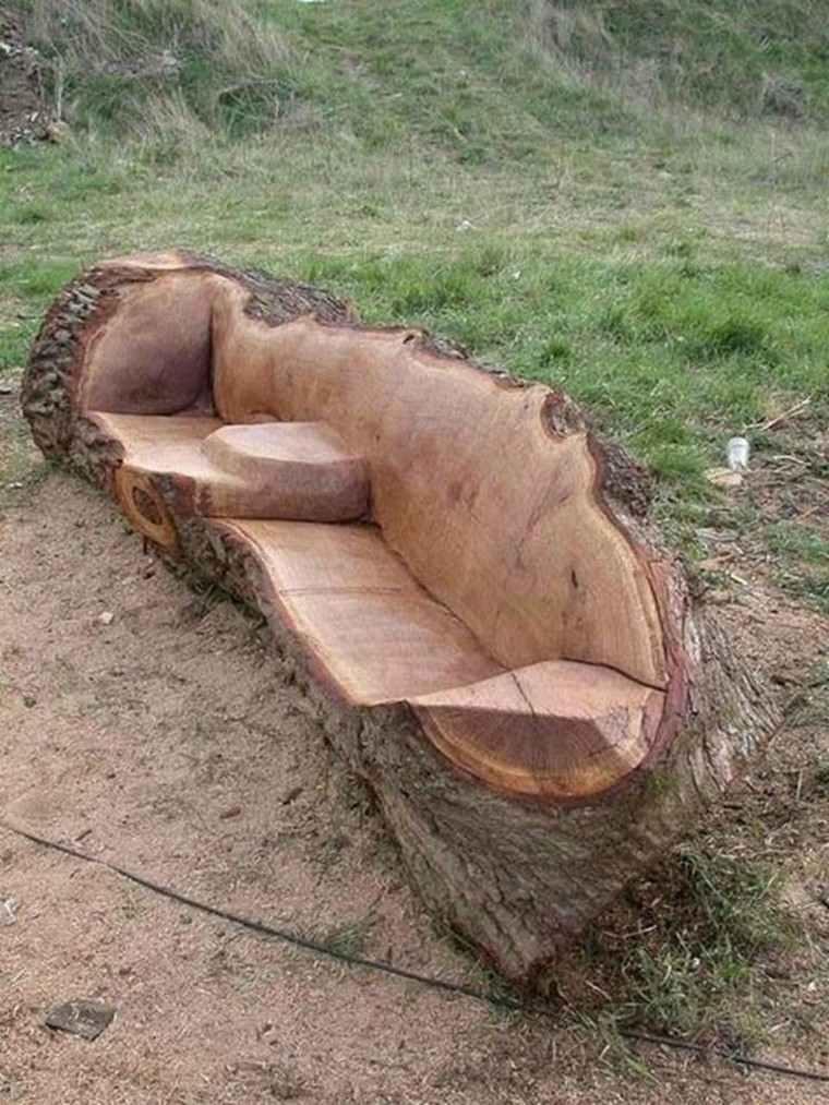 bancos tallados tronco arbol