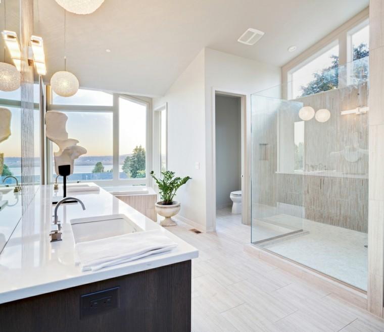 cuartos de baño con ducha mampara cristal transparente lavabo encimera blanca ideas