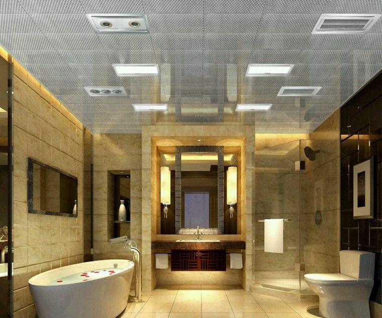 cuartos de baño con ducha amplio banera mamapra lamparas espejo ideas