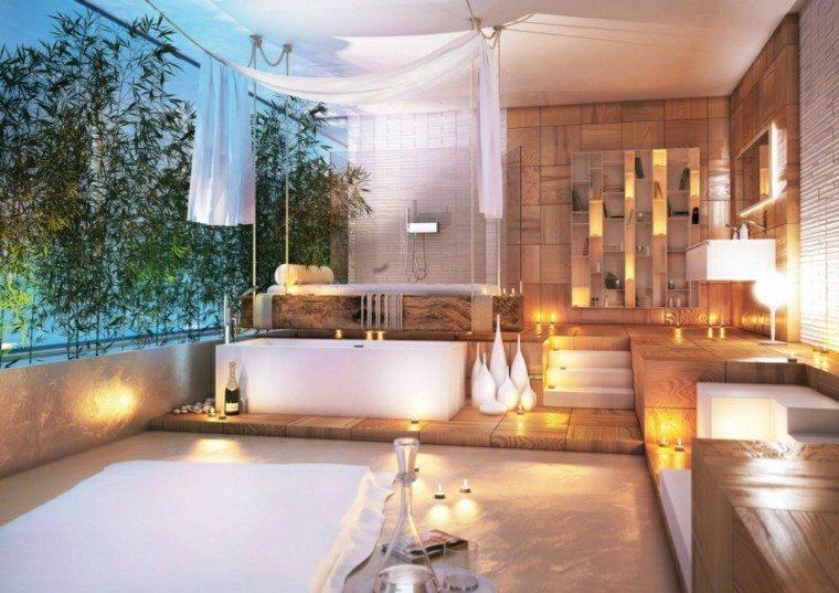 ideas decoracin bao lujoso con suelo de madera y mrmol