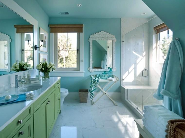 cuartos de baño con ducha baldosas ducha ideas moderno azul verde