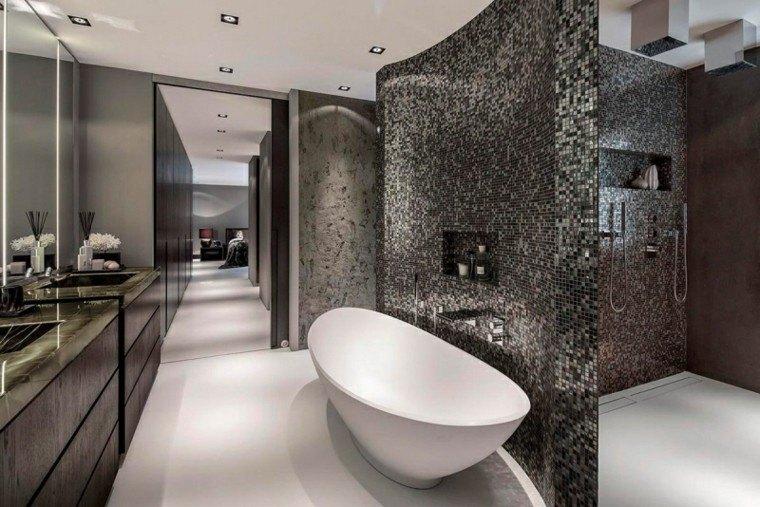 Baño Suelo Gris Pared Blanca:Ideas decoración de interiores para diversos estilos de vida -