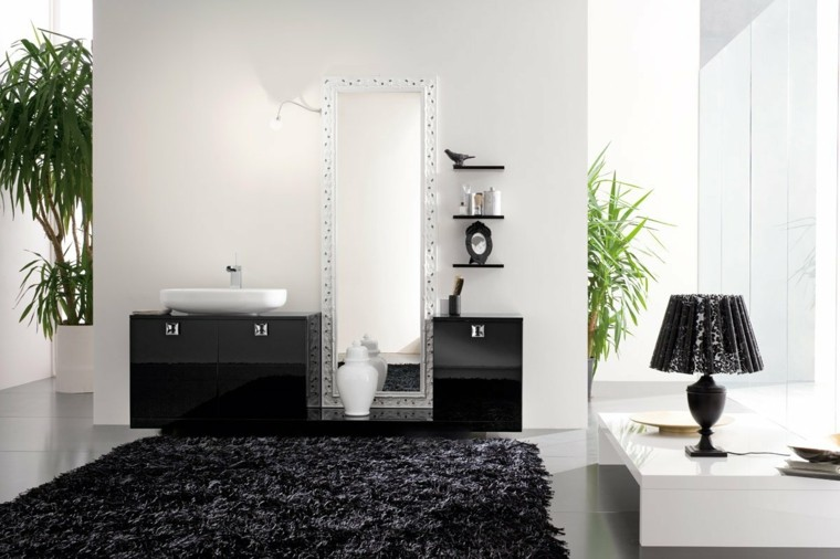 bano color negro alfombra lavabo lampara pie ideas