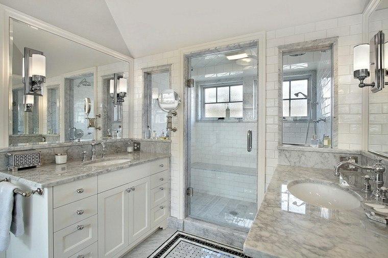 bano puerta cristal ducha lavabo encimera marmol ideas