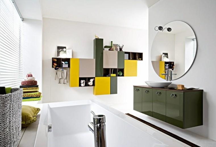 banos colores vibrantes banera lavabo verde ideas