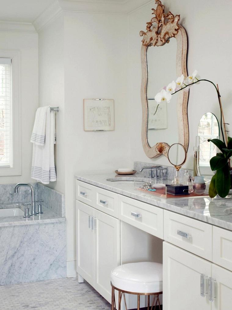 baños pequeños encimera marmol taburete decorativo ideas