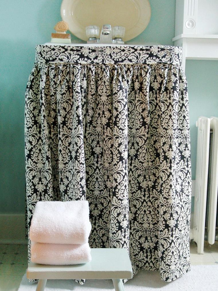 banos pequenos lavabo cortina decorativa blanco negro ideas