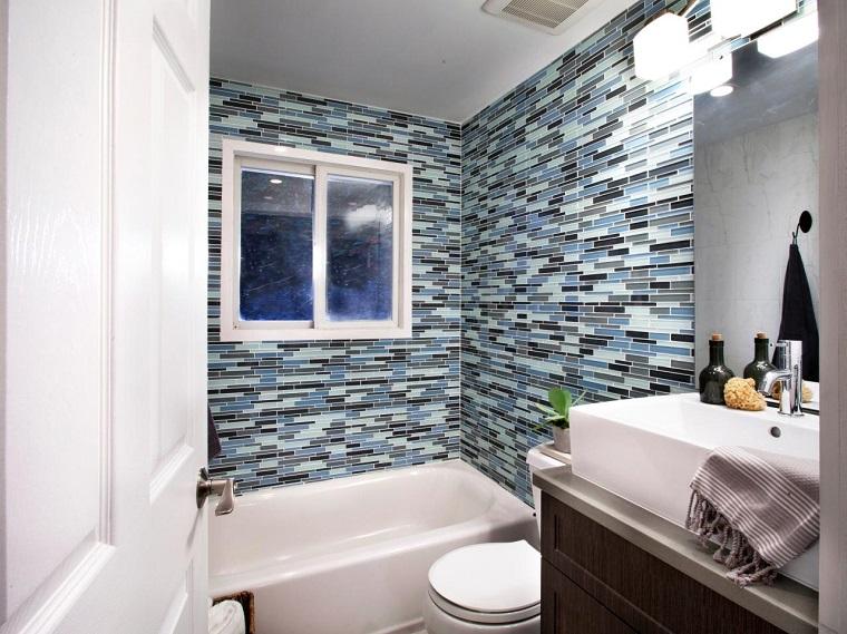 Azulejo Para Baño Pequeno:baños pequeños modernos azulejos decorativos pared azul gris negro