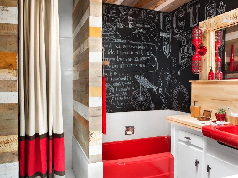 baños pequeños modernos decoraciones originales pared pizarra ideas