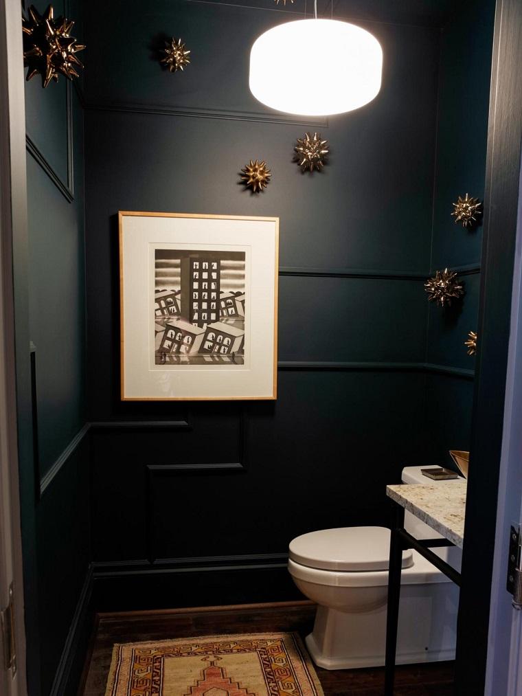 baños pequeños modernos decoraciones pared negra ideas